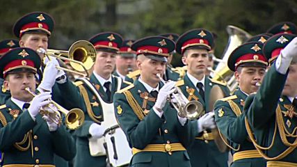 Russia: Military orchestra holds rehearsal for Victory Day 2016 parade