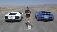 Невероятни автомобили Bugatti Veyron vs Lamborghini Aventador vs Lexus Lfa vs Mclaren Mp4