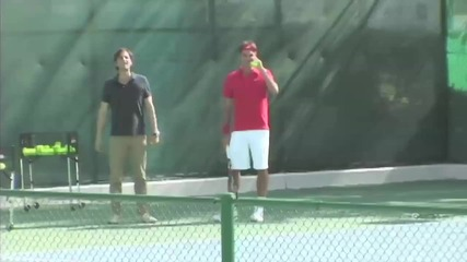 Roger Federer pranks his coach by hitting tennis balls into his Mercedes