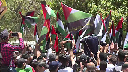 Syria: Hundreds gather outside UN office in Damascus in support of Palestine