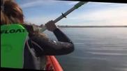 Гребци с каяк засядат на гърба на кит , отърваха се само с уплаха !