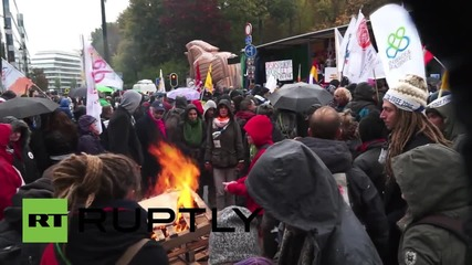 Belgium: Anti-TTIP protesters rally in Brussels