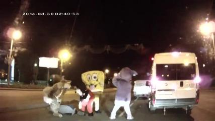Пътен хулиган остана изненадан и сразен от представлението
