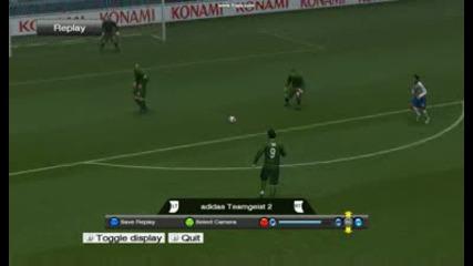 мой гол на Tevez срещу Bayern Munchen pes 2009