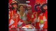 Massa Изпреварва Barichello+kovalainen