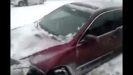 Ледена пързалка на пътя.. Айде на камарата !