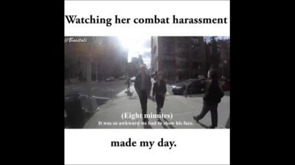 Момиче отвръща на сексуалния тормоз от минувачи в Манхатън (by Jukinvideo)