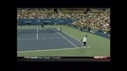 Us Open 2010, Federer - Dabul, shot between the legs