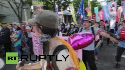 Japan: Tokyo anti-war activists protest military law-change