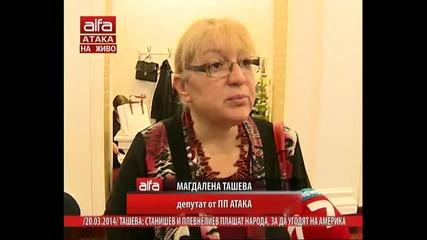 Магдалена Ташева: станишев и плевнелиев плашат народа, за да угодят на Америка. Тв Alfa 20.03.2014г.