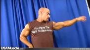 Bodybuilder Julius flexes his Right to Bare Arms