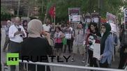 САЩ: Активисти протестират в знак на подкрепа на палестинеца, който обяви гладна стачка