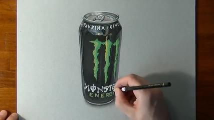 Реалистична рисунка на Monster Energy Drink