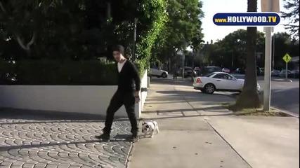 Джо Джонас разхожда кучето си!
