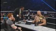 Sheamus и Big Show подписват договора за мача им със столовете Tlc 2012 - Smackdown 12/7/12