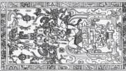 Древна ракета изобразена върху плоча в гробницата на владетел на Маите