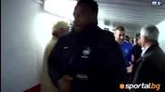 Радостта на французите в тунела и съблекалнята след 1:1 с Испания