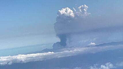 Spain: La Palma volcano smoke visible from window of passenger plane