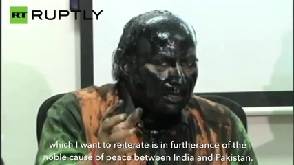 Indian Activist Gives Press Conference Covered in Ink