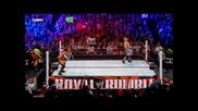 Clothesline - John Cena eliminated Mason Ryan,david Otunga & Michael Mcgullicutty Royal Rumble 2011