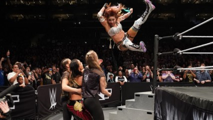 Kairi Sane takes out three Superstars with a jaw-dropping leap from the top rope: NXT Takeover: WarGames II (WWE Network