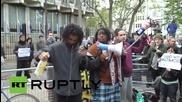 Протест пред американското посолство в Лондон в подкрепа на протестиращите в Балтимор