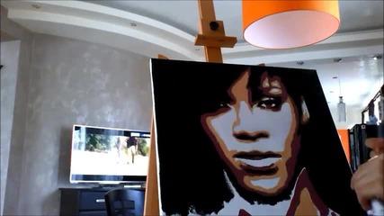 Надя рисува Rihanna поп арт портрет