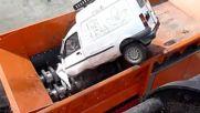 Зверски шредер унищожава автомобили