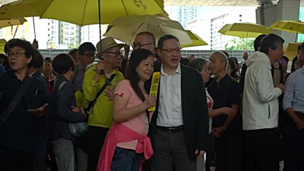 Hong Kong: Hundreds rally ahead of 2014's 'Umbrella Movement' trial