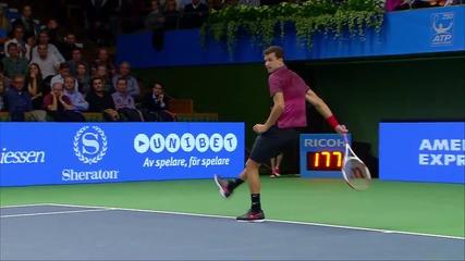 Григор Димитров double hot shots at If Stockholm Open 2014
