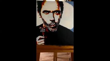 Надя рисува Hugh Laurie (dr.house) поп арт портрет