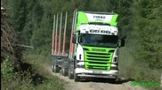 Scania R560 Timber Truck Max load on tough road Sweden