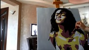 Надя рисува Megan Fox поп арт портрет