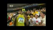Финал - 100 м. Бягане и подобряване на световен рекорд Usain Bolt - Пекин 2008