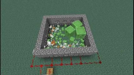 [minecraft] 50 Slimes срещу моят dispenser trap