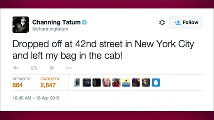 Channing Tatum Uses Twitter to Recover a Backpack He Left in a Cab