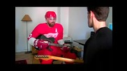 Henrik Zetterberg gets a guitar lesson