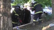 Пиян шофьор се обърна по таван след полицейска гонка в Русе