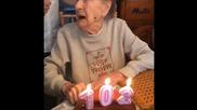 Столетница духа мощно свещите на тортата си и предизвика истинско шоу !