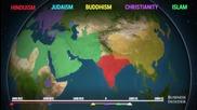 Анимирана карта, показваща къде са възникнали и как са се разпространили основните световни религии
