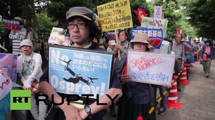 Japan: Anti-US military base protesters form human chain in Tokyo