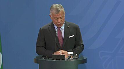 Germany: Merkel thanks Jordan's King Abdullah for efforts on Israeli-Palestinian conflict