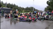 Greece: Refugees protest at Greek-Macedonian border near Evzoni