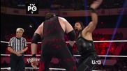 raw 14th july, 2014 roman reigns & john cena vs seth rollins, randy orton & kane