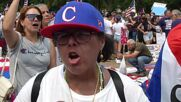 USA: Demonstrators calling to end Cuba embargoes confronted by counter-protesters in DC