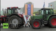 Belgium: Farmers start fires as they descend on EC HQ in Brussels