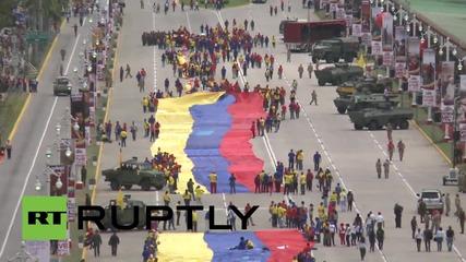 Във Венецуела развяват 1000-метров флаг като протест срещу САЩ