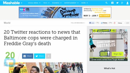 Twitter Reacts to Cop's Charged for Freddie Gray's Death