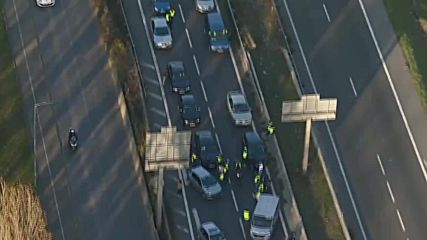 France: Aerial footage shows traffic jams caused by petrol price protests
