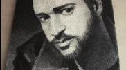 портрет на Джъстин Тимбърлейк, направен от пирони и конци..